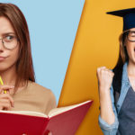 Why study a Bachelor of Science degree? Girl holds book and pencil looking pensively over at her future self wearing a graduation cap looking elated