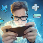 Teen boy plays cool maths games on his iPhone