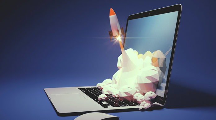Tech startups personality quiz | Image: rocket launches out of a laptop computer