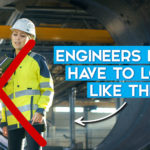 """What is engineering? Two stereotypical engineers stand wearing hard hats and high vis with a big red cross over them. Text says """"Engineers don't have to look like this."""""""